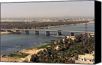 Second Gulf War Canvas Prints - The Main Bridge In An Nasiriyah Iraq Canvas Print by Everett