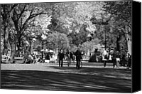 Park Benches Digital Art Canvas Prints - THE MALL at CENTRAL PARK in BLACK AND WHITE Canvas Print by Rob Hans