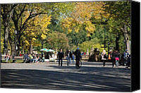Park Benches Digital Art Canvas Prints - THE MALL in CENTRAL PARK Canvas Print by Rob Hans