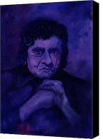 Johnny Cash Canvas Prints - The Man In Black In Blue Canvas Print by Chuck Creasy