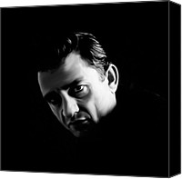 Johnny Cash Canvas Prints - The Man in Black Canvas Print by Laurence Adamson