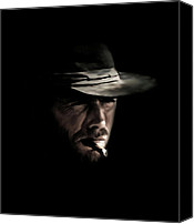 Clint Eastwood Canvas Prints - The Man With No Name Canvas Print by Laurence Adamson