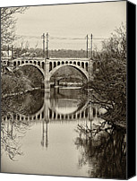 Belmont Canvas Prints - The Manayunk Bridge in Sepia Canvas Print by Bill Cannon