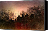 Moon Canvas Prints - The Mansion Is Warm At The Top Of the Hill Canvas Print by Bob Orsillo
