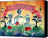 Skulls Canvas Prints - The Marathon Canvas Print by Heather Calderon