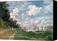 Monet Painting Canvas Prints - The Marina at Argenteuil Canvas Print by Claude Monet