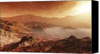 Land Feature Canvas Prints - The Martian Sun Sets Over The High Canvas Print by Steven Hobbs