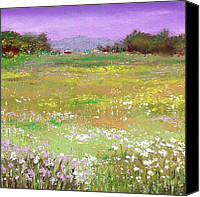 Landscapes Pastels Canvas Prints - The Meadow Canvas Print by David Patterson