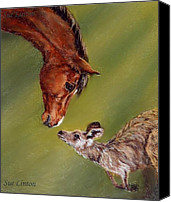 Kangaroo Painting Canvas Prints - The meeting Canvas Print by Sue Linton