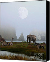 Elephants Canvas Prints - The Menagerie Canvas Print by Wingsdomain Art and Photography
