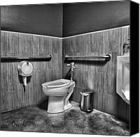 Black And White Canvas Prints - The Mens Room Canvas Print by Bob Orsillo