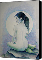 Mermaid Drawings Canvas Prints - The Mermaid 1 Canvas Print by Tim Ernst