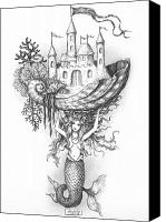 Antique Drawings Canvas Prints - The Mermaid Fantasy Canvas Print by Adam Zebediah Joseph