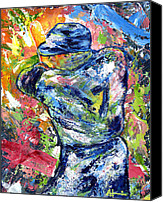 Mlb Painting Canvas Prints - The Mick Mickey Mantle Canvas Print by Ash Hussein