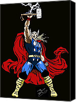 Thor Drawings Canvas Prints - The Mighty Thor Canvas Print by Michael Dijamco