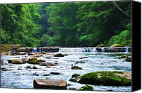 Valley Green Canvas Prints - The Mighty Wissahickon Canvas Print by Bill Cannon