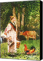 Scenery Prints Canvas Prints - The Milk Maid Canvas Print by Pg Reproductions