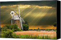Stormy Canvas Prints - The Mill On The Marsh Canvas Print by Meirion Matthias
