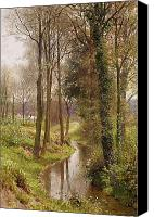 Watercolor On Paper Canvas Prints - The Mill Stream Canvas Print by Henry Sutton Palmer