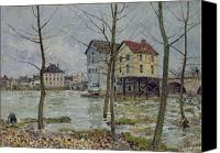 Factories Canvas Prints - The Mills at Moret sur Loing Canvas Print by Alfred Sisley