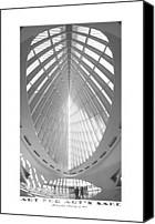 Black Digital Art Canvas Prints - The Milwaukee Art Museum Canvas Print by Mike McGlothlen