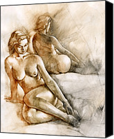 Erotic Painting Canvas Prints - The Mirror Canvas Print by Chris  Lopez