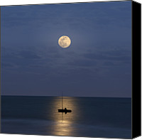 Water Canvas Prints - The Moon Guide Us Canvas Print by Carlos Gotay