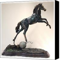 Nature Sculpture Canvas Prints - The Moonhorse Bronze Canvas Print by Dawn Senior-Trask