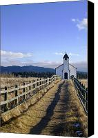Country Dirt Roads Photo Canvas Prints - The Morley Church, Alberta, Canada Canvas Print by Philippe Widling