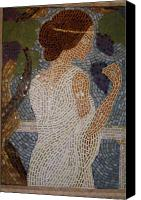 Mosaic Glass Art Canvas Prints - The Mosaic Muse Canvas Print by Robin Miklatek