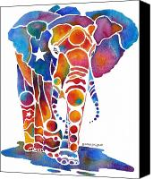 Zoo Canvas Prints - The Most Whimsical Elephant Canvas Print by Jo Lynch