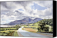 Overcast Painting Canvas Prints - The Mountains of Mourne from near Dundrum  Canvas Print by Lydia de Burgh