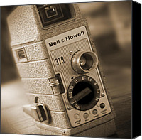 White Series Canvas Prints - The Movie Camera Canvas Print by Mike McGlothlen