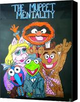 Muppets Drawings Canvas Prints - The Muppet Mentality Canvas Print by Amanda Sparrow