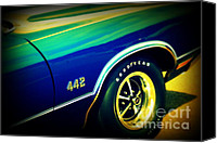 Auction Canvas Prints - The Muscle Car Oldsmobile 442 Canvas Print by Susanne Van Hulst