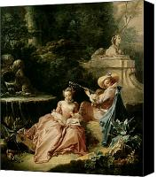 Reading Painting Canvas Prints - The Music Lesson Canvas Print by Francois Boucher
