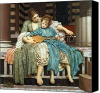 Setting Painting Canvas Prints - The Music Lesson Canvas Print by Frederic Leighton