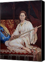 Figurative Art Canvas Prints - The Musician Canvas Print by Enzie Shahmiri