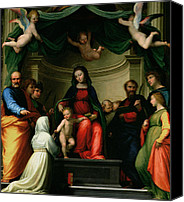 Enthroned Canvas Prints - The Mystic Marriage of St Catherine of Siena with Saints Canvas Print by Fra Bartolommeo - Baccio della Porta