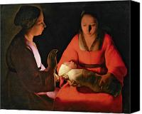 Women Canvas Prints - The New Born Child Canvas Print by Georges de la Tour
