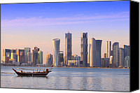 Arabia Canvas Prints - The new Doha Canvas Print by Paul Cowan
