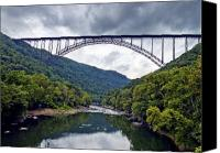 Virginia Canvas Prints - The New River Gorge Bridge in West Virginia Canvas Print by Brendan Reals