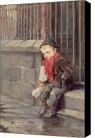 Sat Canvas Prints - The News Boy Canvas Print by Ralph Hedley