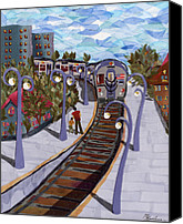 Transportation Tapestries - Textiles Canvas Prints - The Next Stop Is... Canvas Print by Marina Gershman