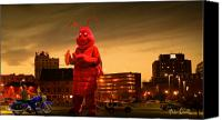 Buildings Canvas Prints - The Night Of The Lobster Man Canvas Print by Bob Orsillo