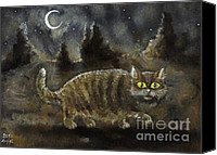 Tabby  Painting Canvas Prints - The Night Stalker Canvas Print by Angel  Tarantella