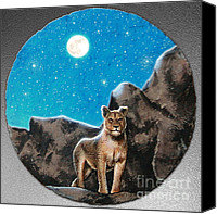 Mountain Lion Digital Art Canvas Prints - The Night Stalker Canvas Print by Cristopher