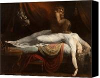 Macabre Canvas Prints - The Nightmare Canvas Print by Henry Fuseli