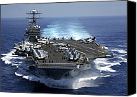 Second Gulf War Canvas Prints - The Nuclear Powered Aircraft Carrier Canvas Print by Everett