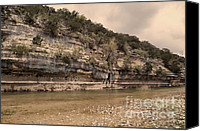 Grey Clouds Canvas Prints - The Nueces River  Canvas Print by Donna Van Vlack